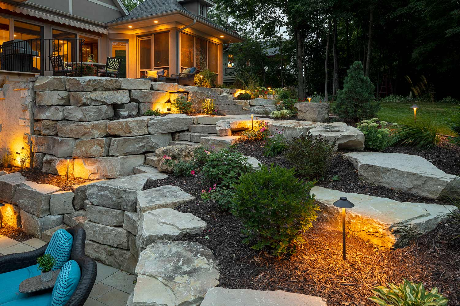 Landscape Lighting-New Braunfels TX Landscape Designs & Outdoor Living Areas-We offer Landscape Design, Outdoor Patios & Pergolas, Outdoor Living Spaces, Stonescapes, Residential & Commercial Landscaping, Irrigation Installation & Repairs, Drainage Systems, Landscape Lighting, Outdoor Living Spaces, Tree Service, Lawn Service, and more.
